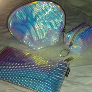 3PC Mermaid Iridescent Makeup Organizer Set